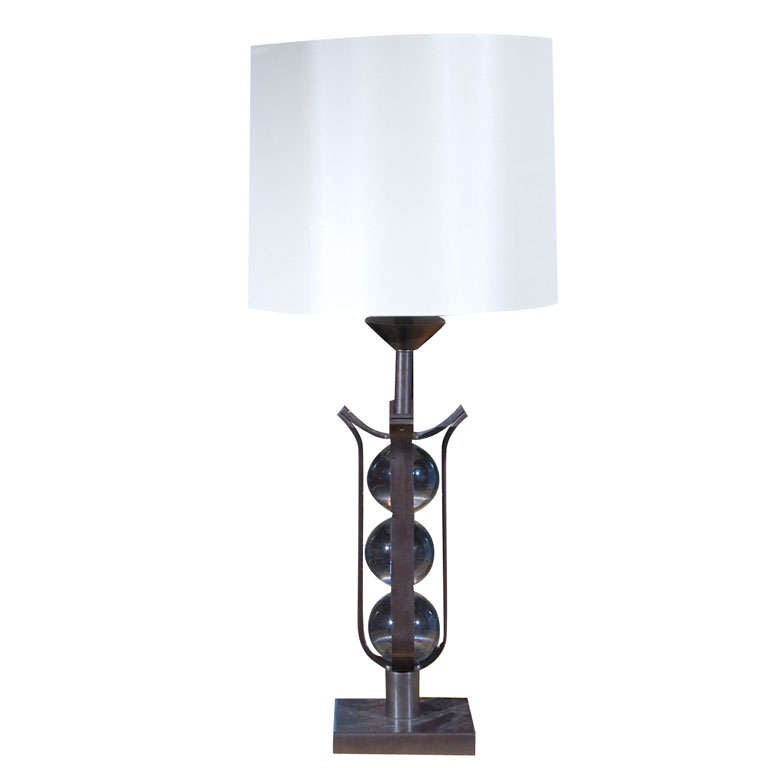 bronze glass ball table lamp for sale at 1stdibs. Black Bedroom Furniture Sets. Home Design Ideas