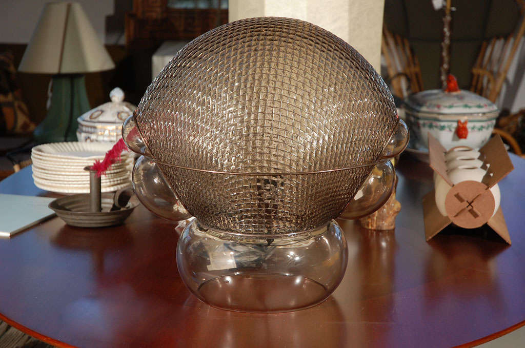 Glass & Wire Mesh Table Lamp