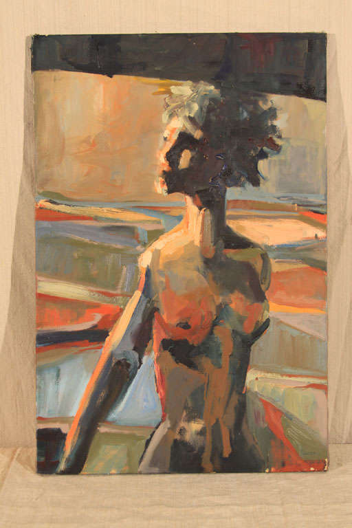 Moody yet brightly colored and starkly shadowy nude portrait of a woman of exceptional quality and unusual style.