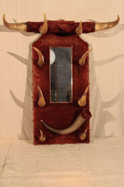 Rustic Horn & Velvet  Hat Rack image 2