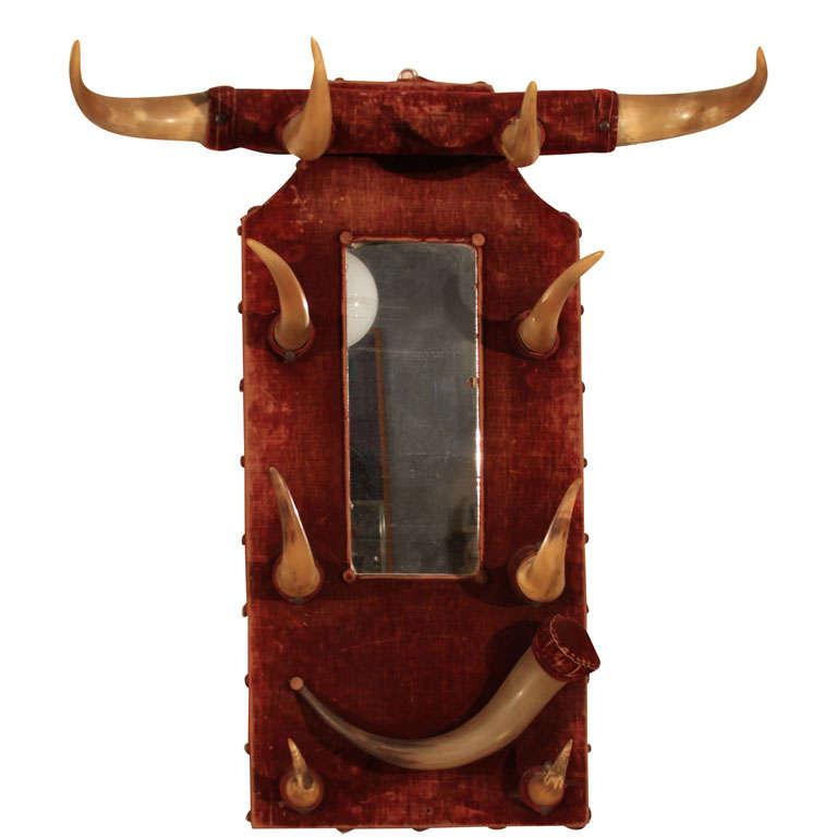 Rustic Horn & Velvet  Hat Rack