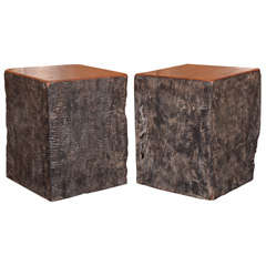 Lychee Wood Solid Black Organic End Table