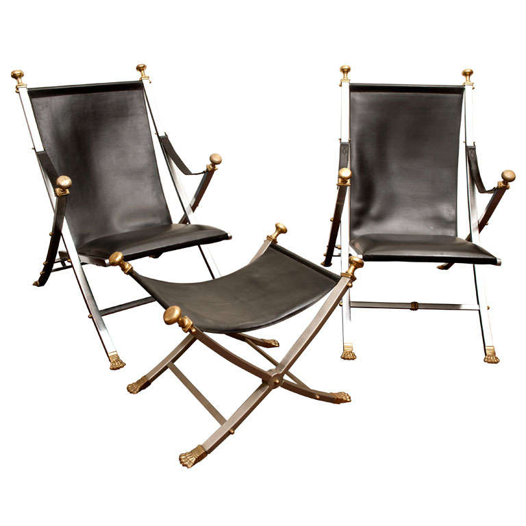 Pair Of Maison Jansen Campaign Arm Chairs With Matching Stool At 1stdibs