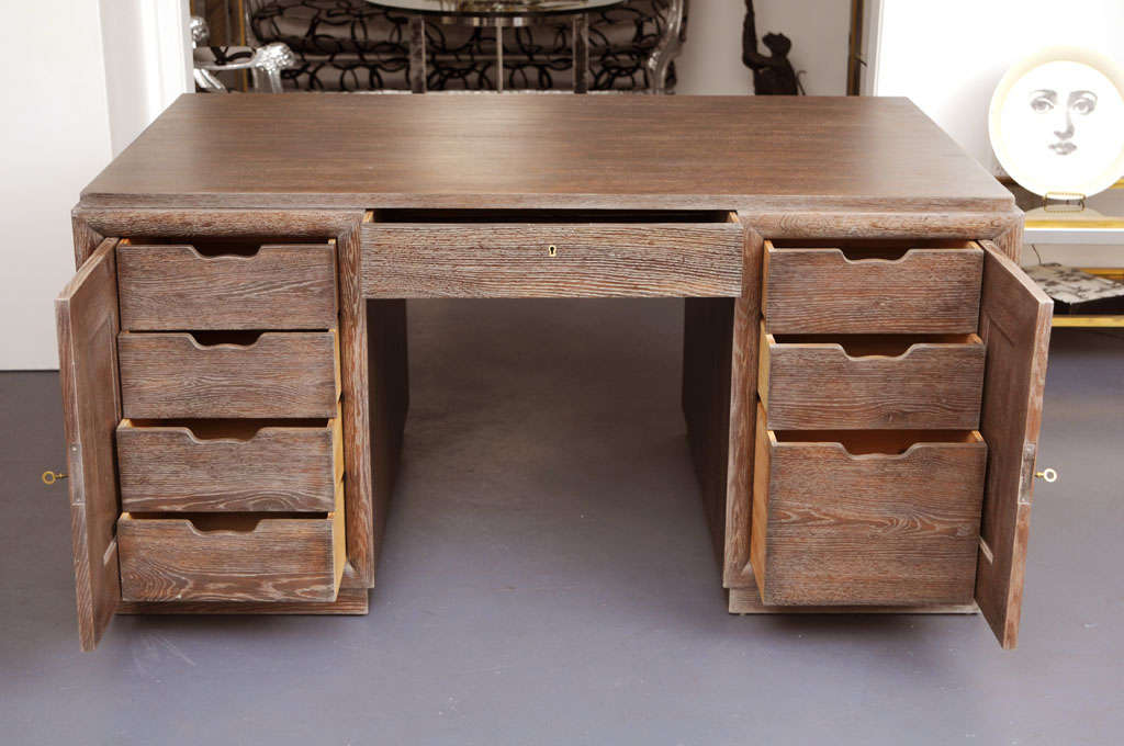 Mid Century Modern Cerused Golden Oak Desk By Charles Dudouyt 3