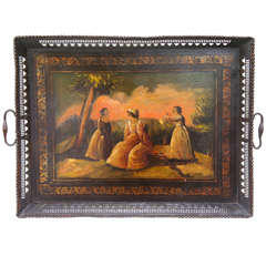 18th Century Tole Tray with Original Scenic Painting