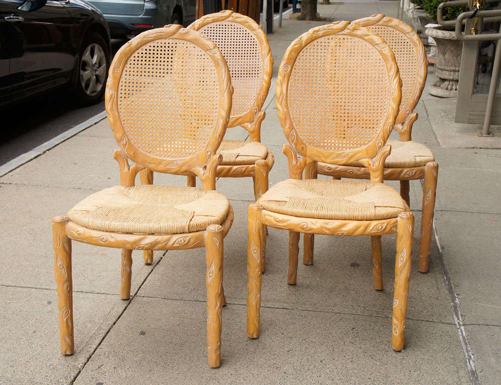 1970s Wood Furniture ~ Set of vintage s carved wood chairs at stdibs
