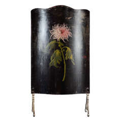 Polychromed Iron Fire Screen With Chrysanthemum Decoration