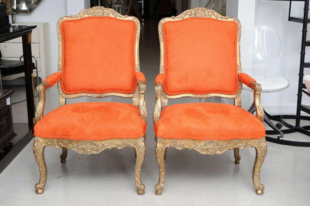 pair of orange armchairs minton spydell at 1stdibs