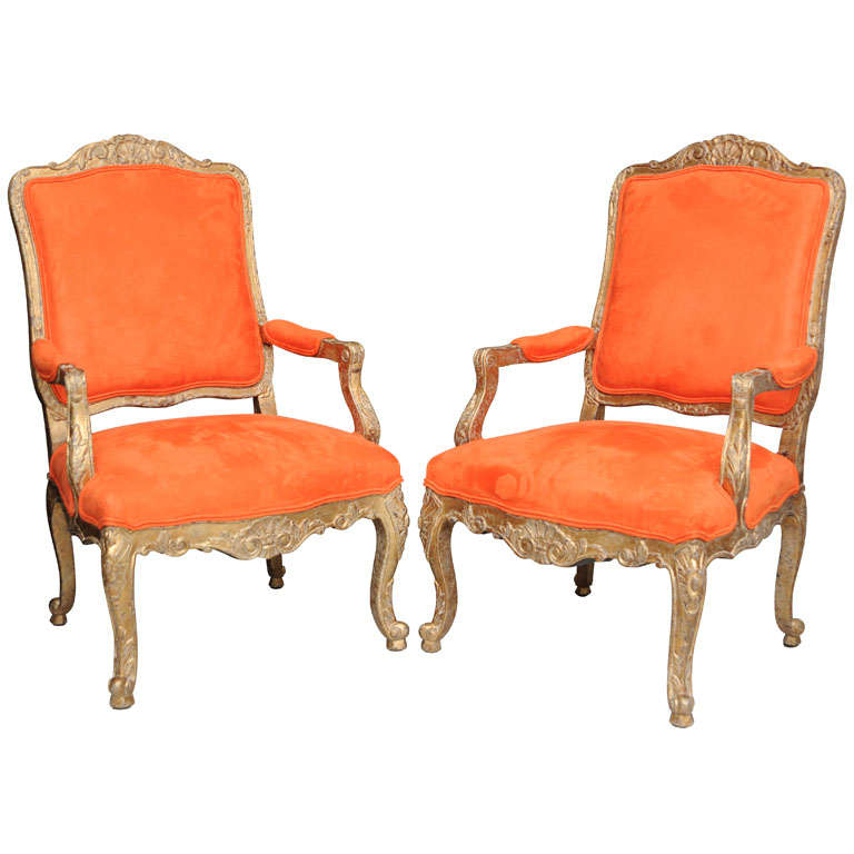 pair of orange armchairs minton spydell at 1stdibs
