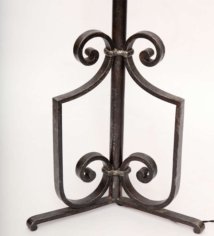 Hand-Crafted Floor Lamp Art Deco Wrought Iron, France, 1920s For Sale