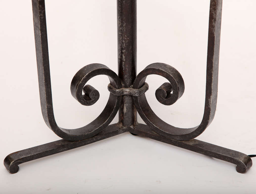 20th Century Floor Lamp Art Deco Wrought Iron, France, 1920s For Sale