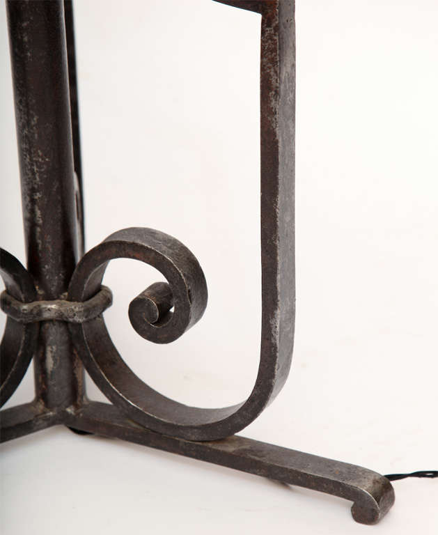 Floor Lamp Art Deco Wrought Iron, France, 1920s For Sale 2