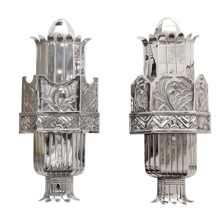 A Pair of 1920 s Art Deco Sconces by Walter Kantack at 1stdibs