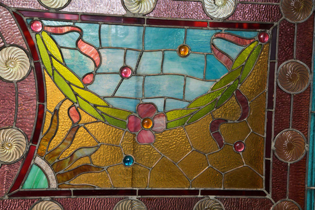 Large Antique Leaded Stained Glass Window In Good Condition For Sale In Stamford, CT