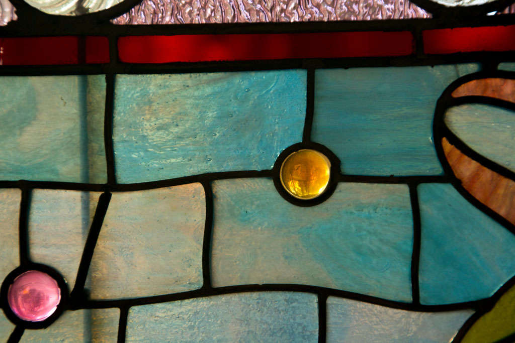 19th Century Large Antique Leaded Stained Glass Window For Sale