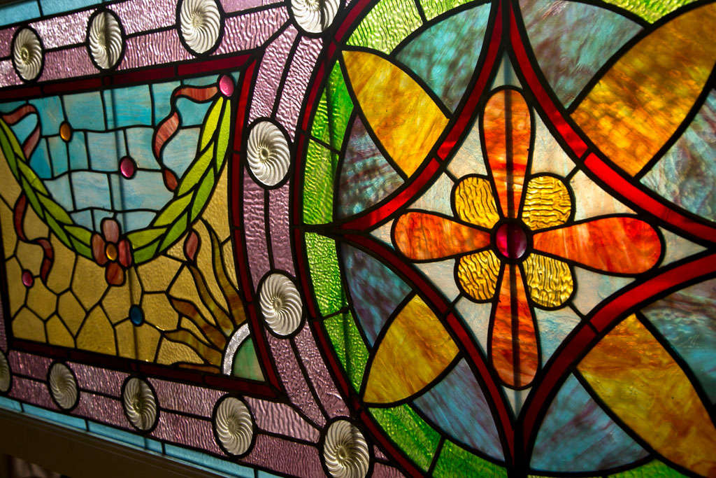Large Antique Leaded Stained Glass Window For Sale 1