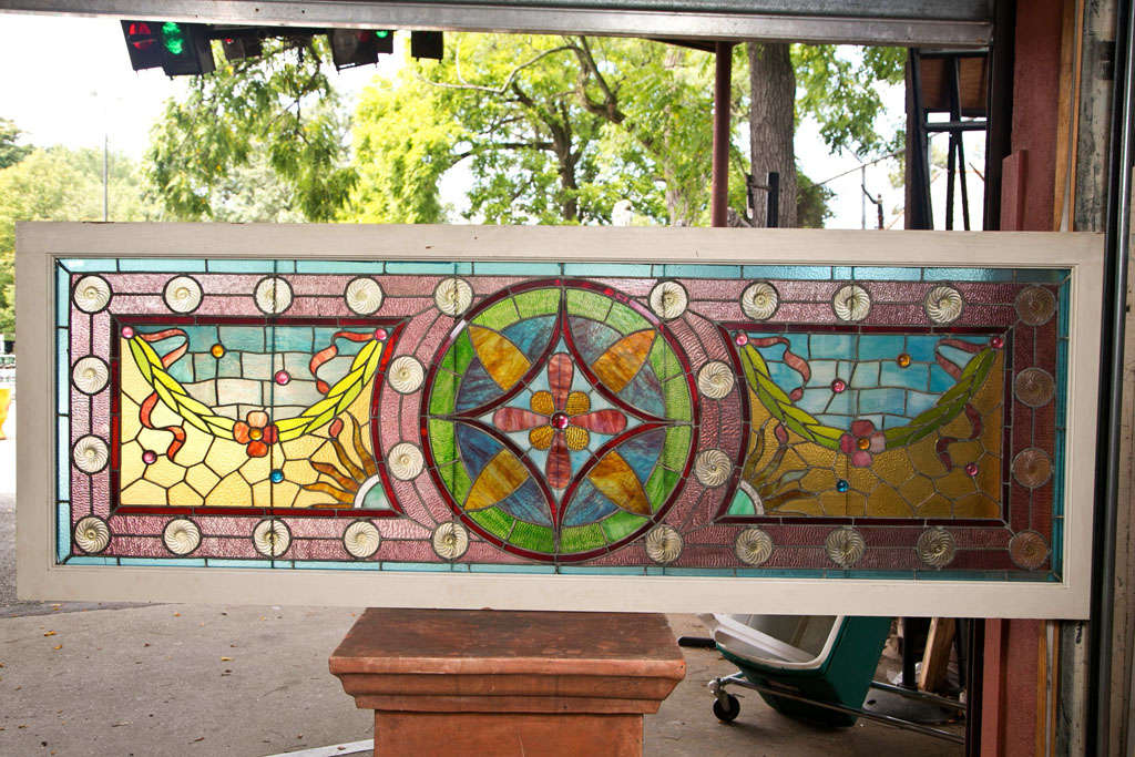Large antique leaded stained glass window for sale at 1stdibs for Large house windows for sale