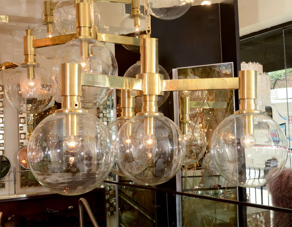 Austrian Brass Three-Arm Chandelier with Clear Glass Spherical Shades For Sale