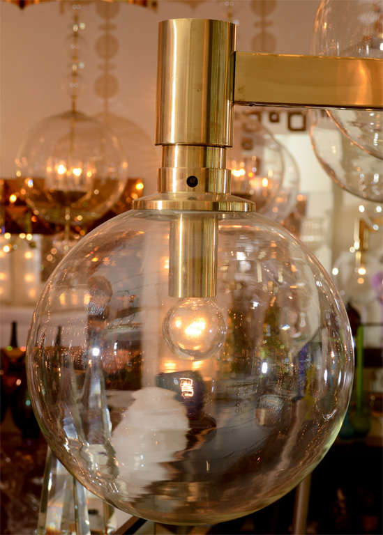 Brass Three-Arm Chandelier with Clear Glass Spherical Shades For Sale 2