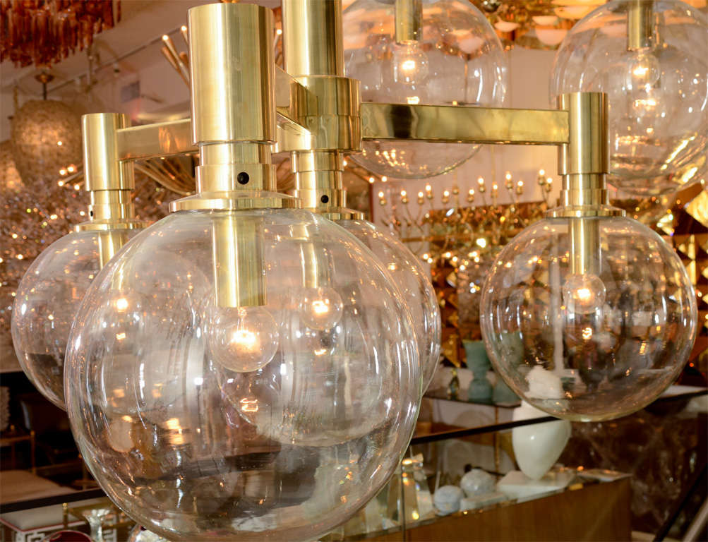 Brass Three-Arm Chandelier with Clear Glass Spherical Shades For Sale 3