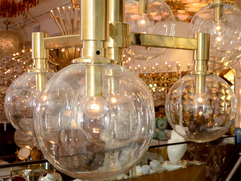Brass Three-Arm Chandelier with Clear Glass Spherical Shades For Sale 4