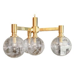 Brass Three-Arm Chandelier with Clear Glass Spherical Shades