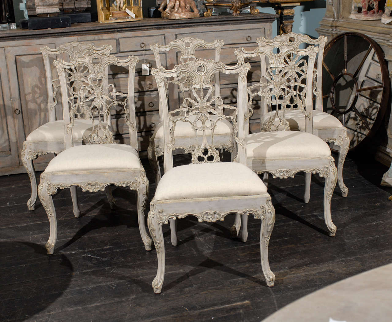Set Of 10 Italian Chippendale Style Painted Wood Chairs 2