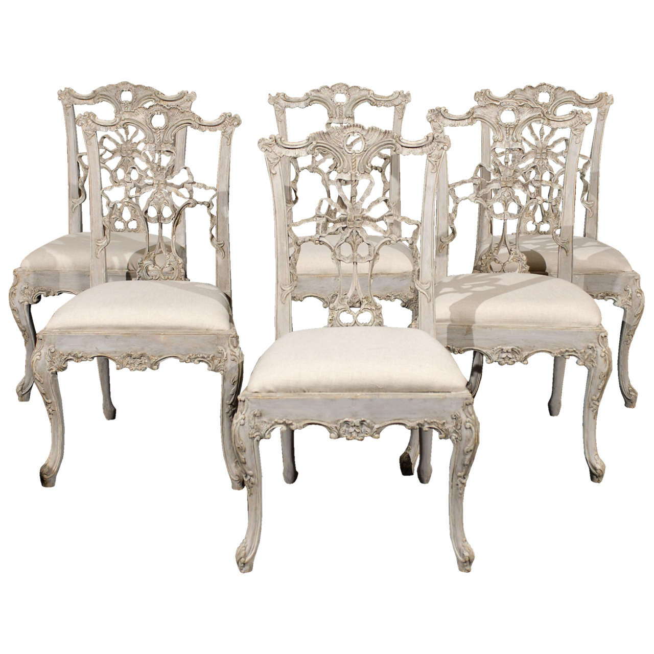 Attrayant Set Of 10 Italian Chippendale Style Painted Wood Chairs For Sale