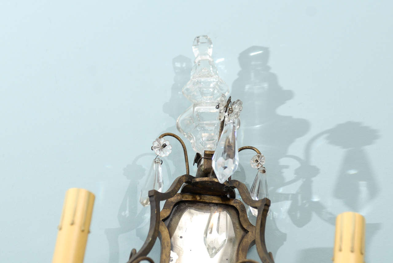 Italian Crystal Wall Lights : Pair of Italian Crystal Sconces at 1stdibs