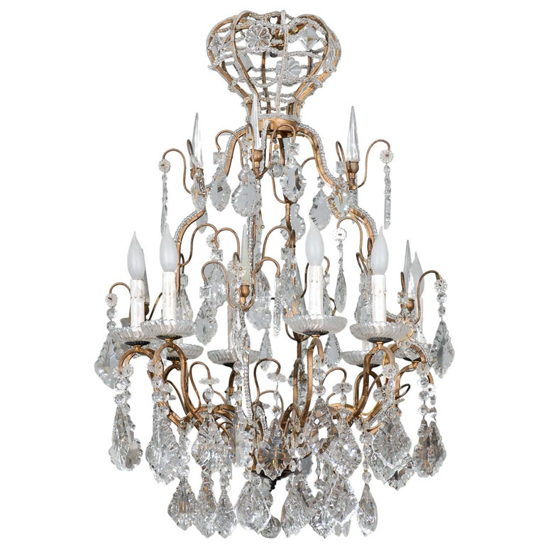 Italian Vintage Eight-Light Crystal Chandelier with Crown like Top For Sale