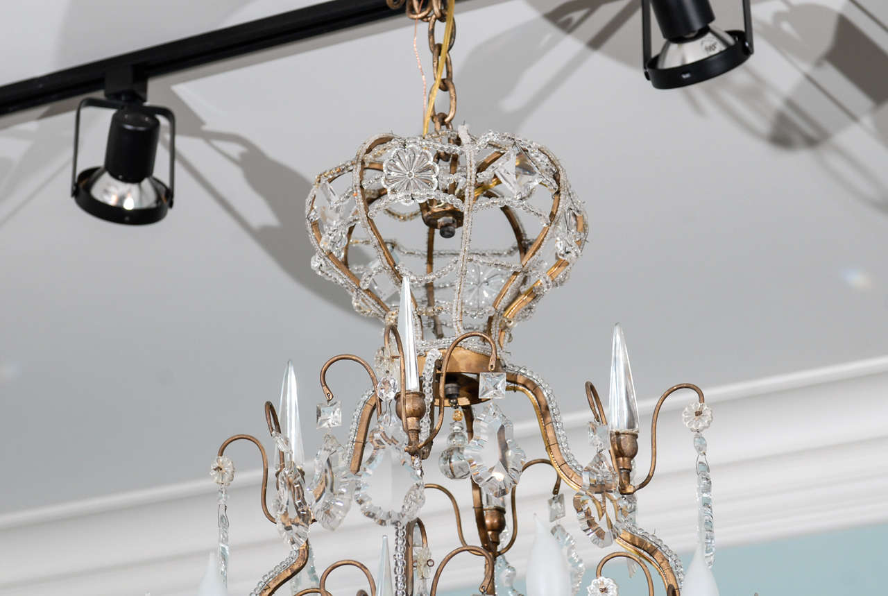 Italian Vintage Eight-Light Crystal Chandelier with Crown like Top In Good Condition For Sale In Atlanta, GA