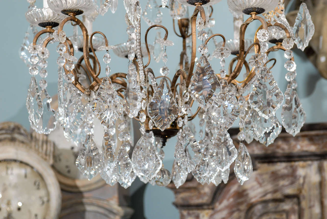 Italian Vintage Eight-Light Crystal Chandelier with Crown like Top For Sale 1