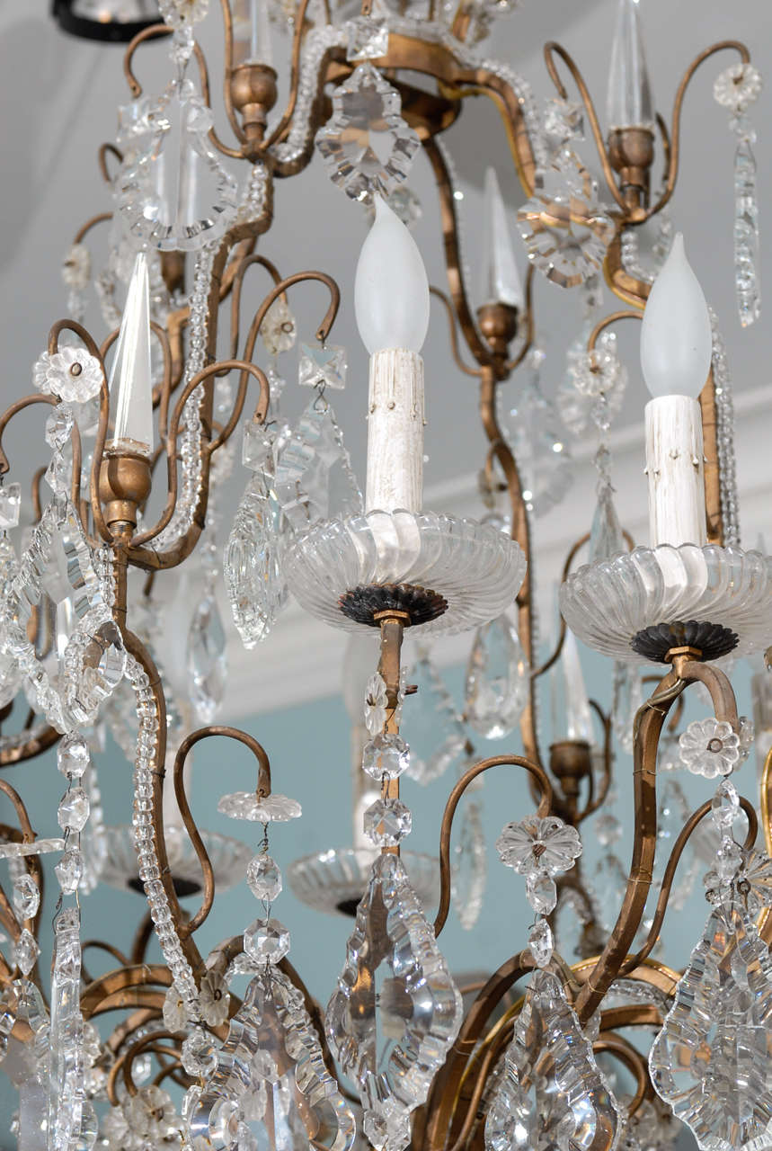 Italian Vintage Eight-Light Crystal Chandelier with Crown like Top For Sale 3