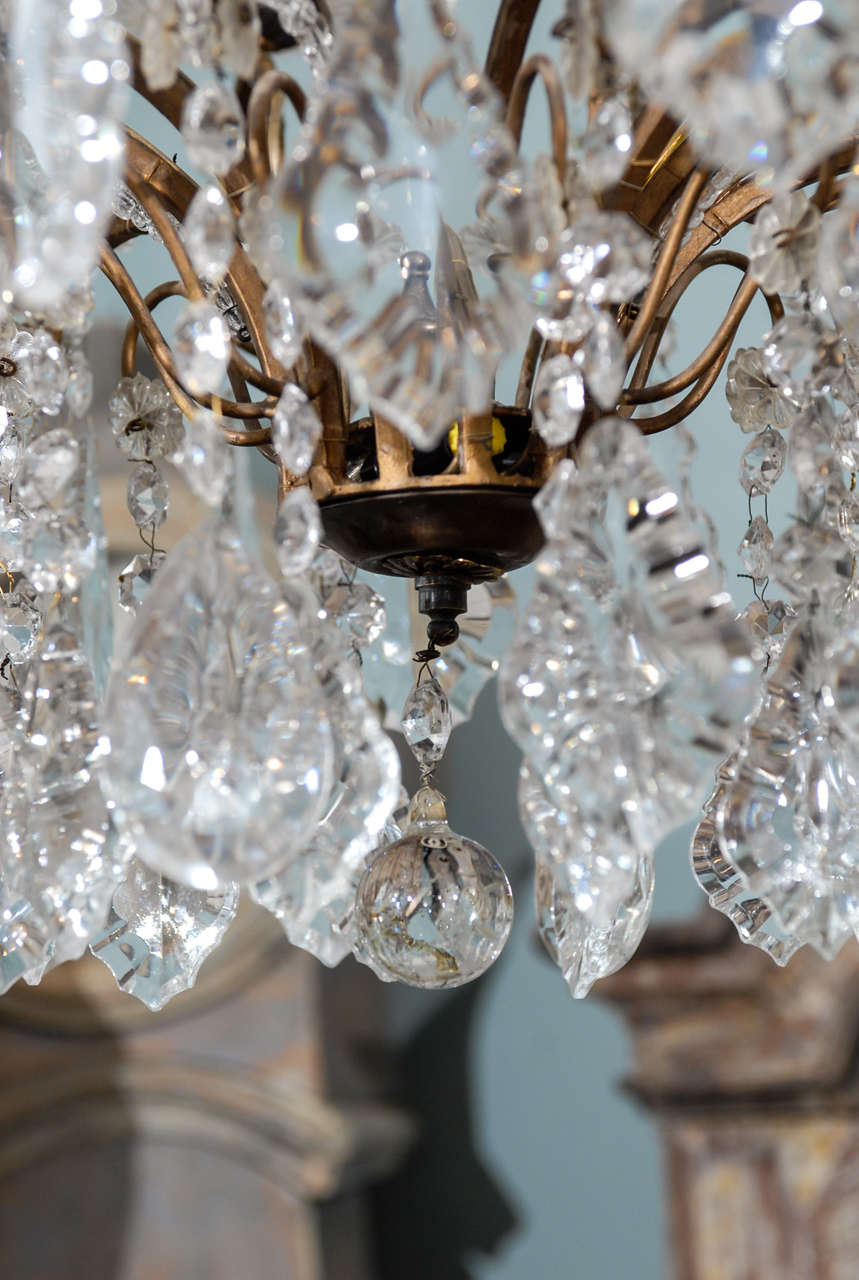 Italian Vintage Eight-Light Crystal Chandelier with Crown like Top For Sale 5