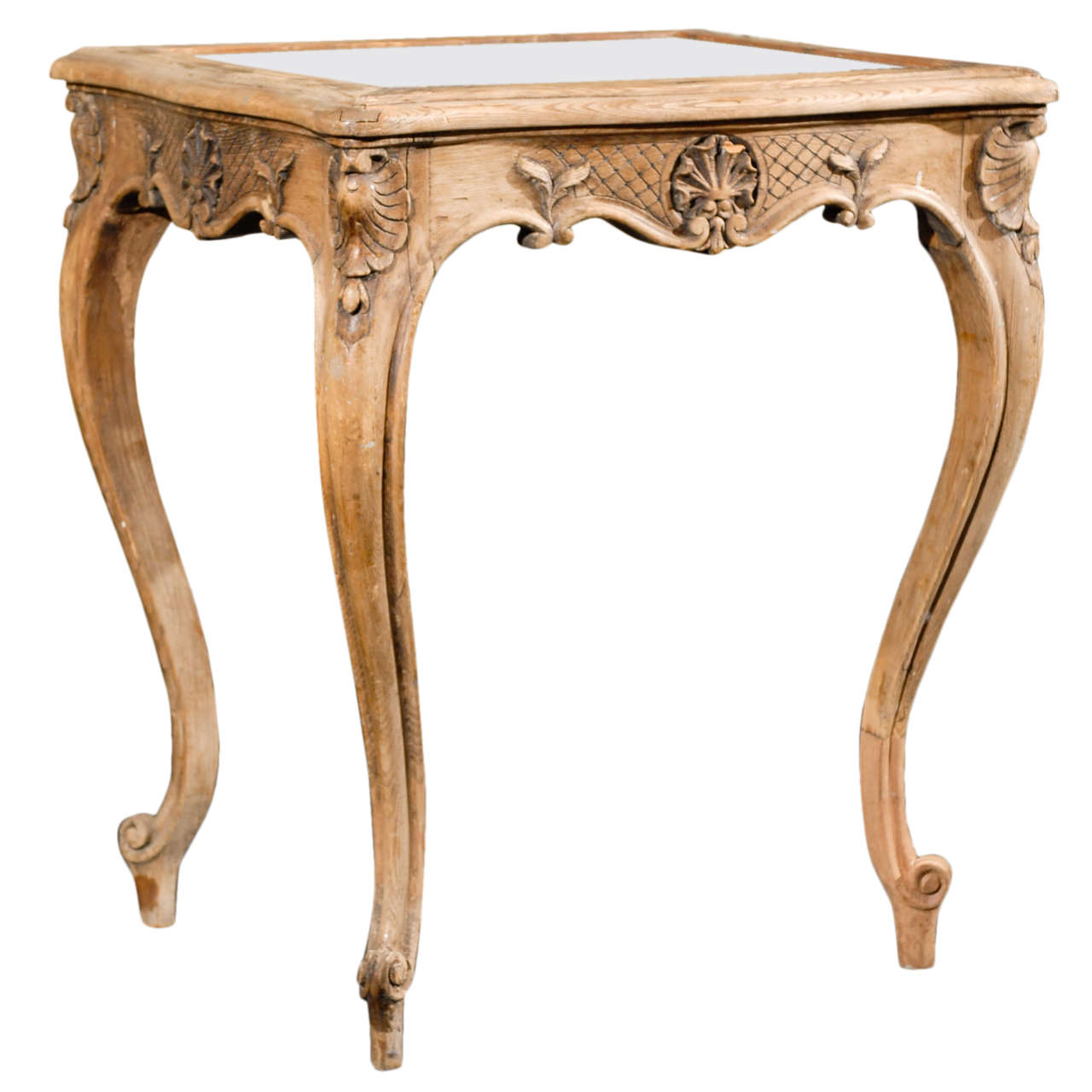 French 19th Century Brown Side/Drink Table With Mirrored Top And Leaf  Carvings 1