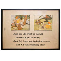 "Framed Arts and Crafts Era Original ""Jack and Jill"" Nursery Rhyme Lithograph"