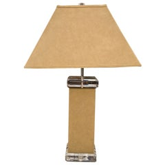 Vintage Italian Lucite & Suede Table Lamp