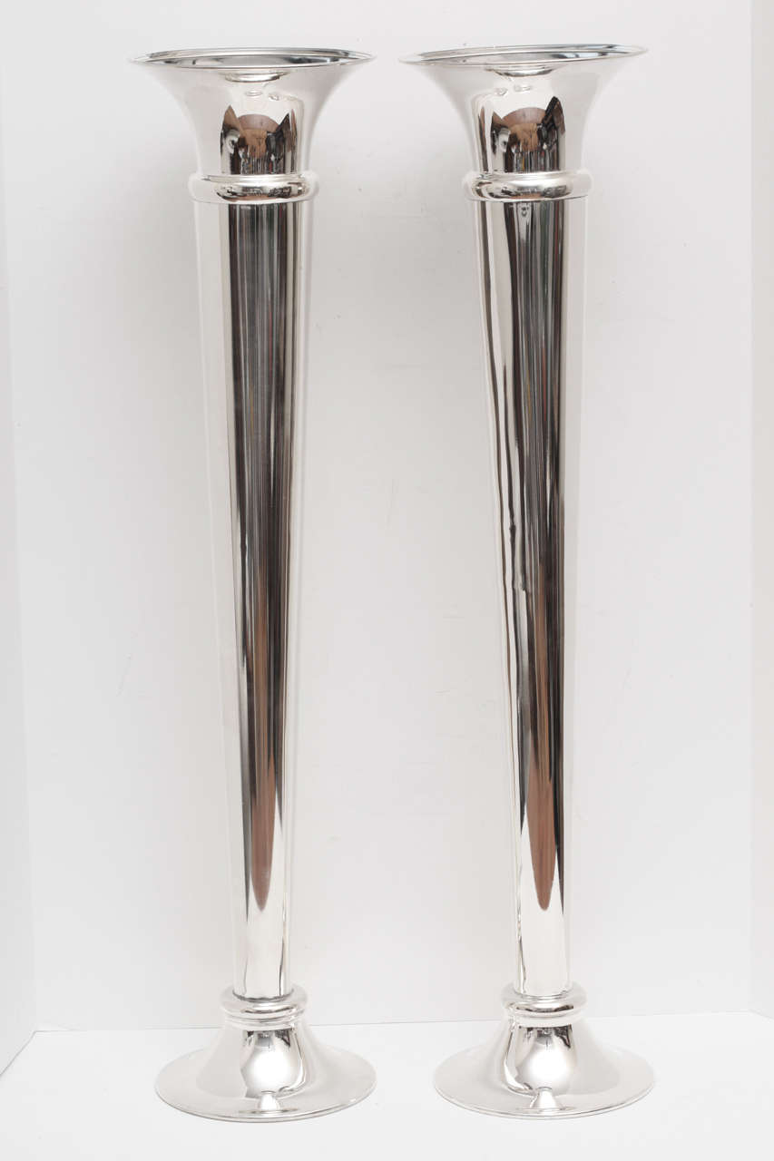 Huge pair of english silver trumpet vases at 1stdibs a beautiful pair of matching silver plated trumpet vases very large measuring nearly 3 feet reviewsmspy