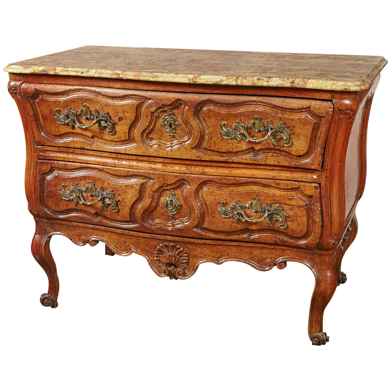 18th Century French, Walnut Marble Top Commode
