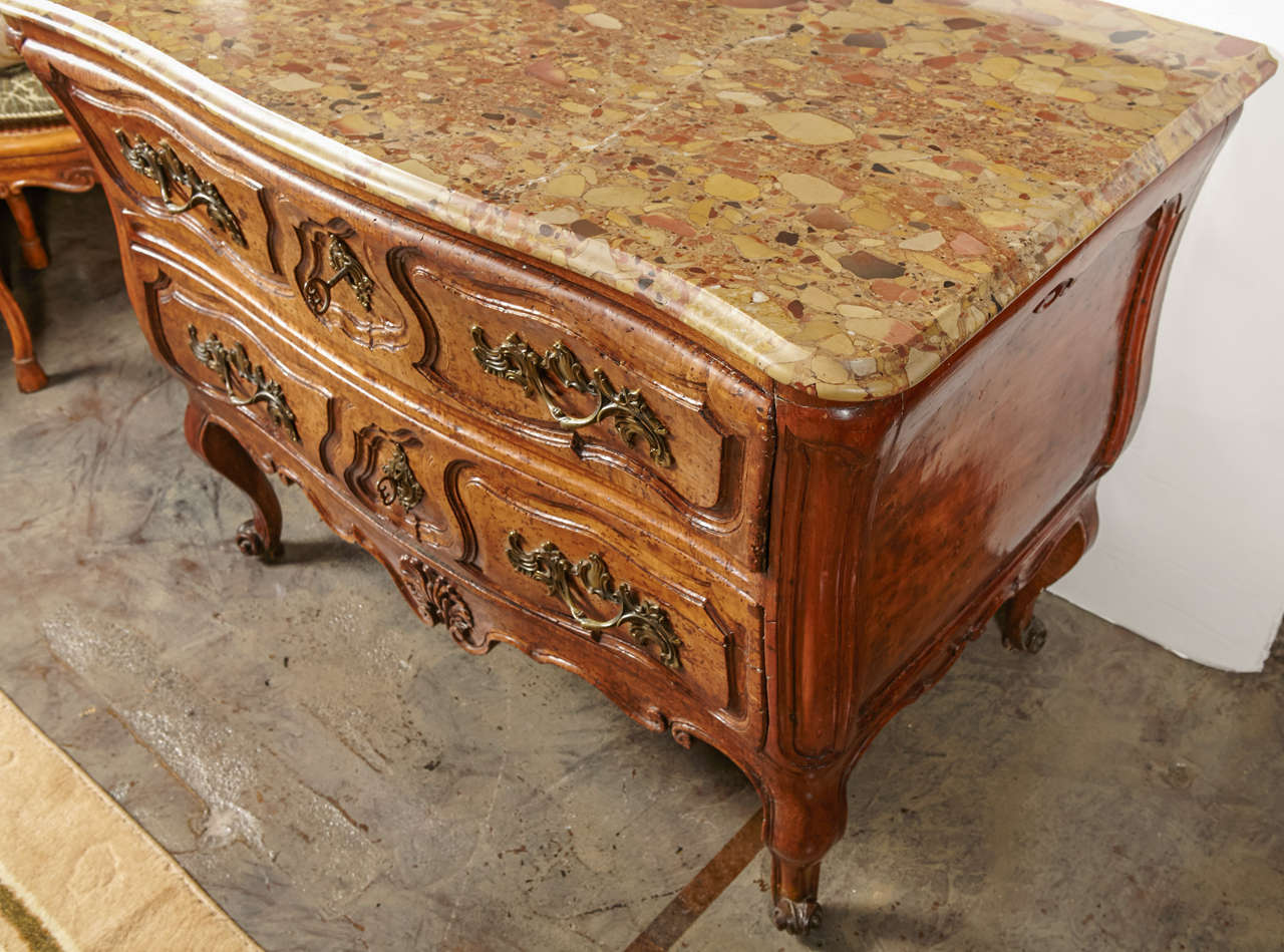 18th Century and Earlier 18th Century French, Walnut Marble Top Commode For Sale