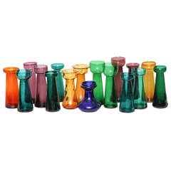 Collection of English Colored Glass Bulb Vases Priced Individually