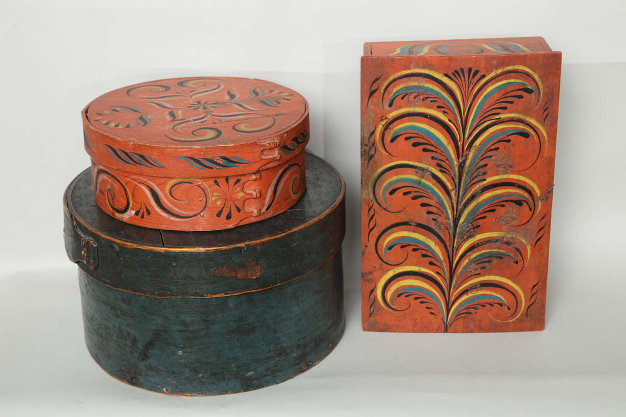 19th Century Collection of Three Norwegian Folk Art Boxes For Sale