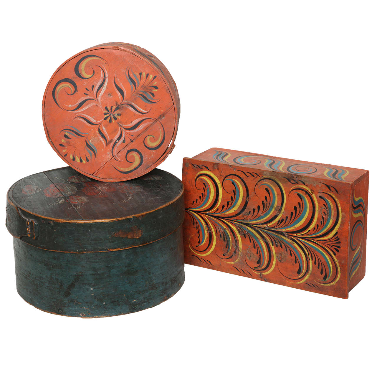 Collection of Three Norwegian Folk Art Boxes For Sale