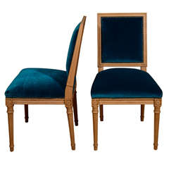 Antony Todd collection Teal Mohair Louis XVI Style chairs