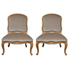 Antony Todd Slipper Chairs Upholstered in Grey Mohair