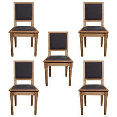 Set of 6 Late 19th century Bleached Oak English Chairs