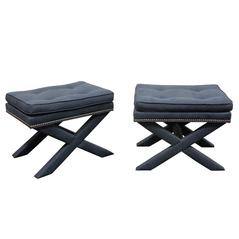 Pair Of Upholstered Stools With X Leg Design At 1stdibs