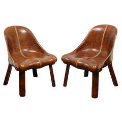Important Pair of Leather Clad Chairs with Saddle Stitching by William Haines