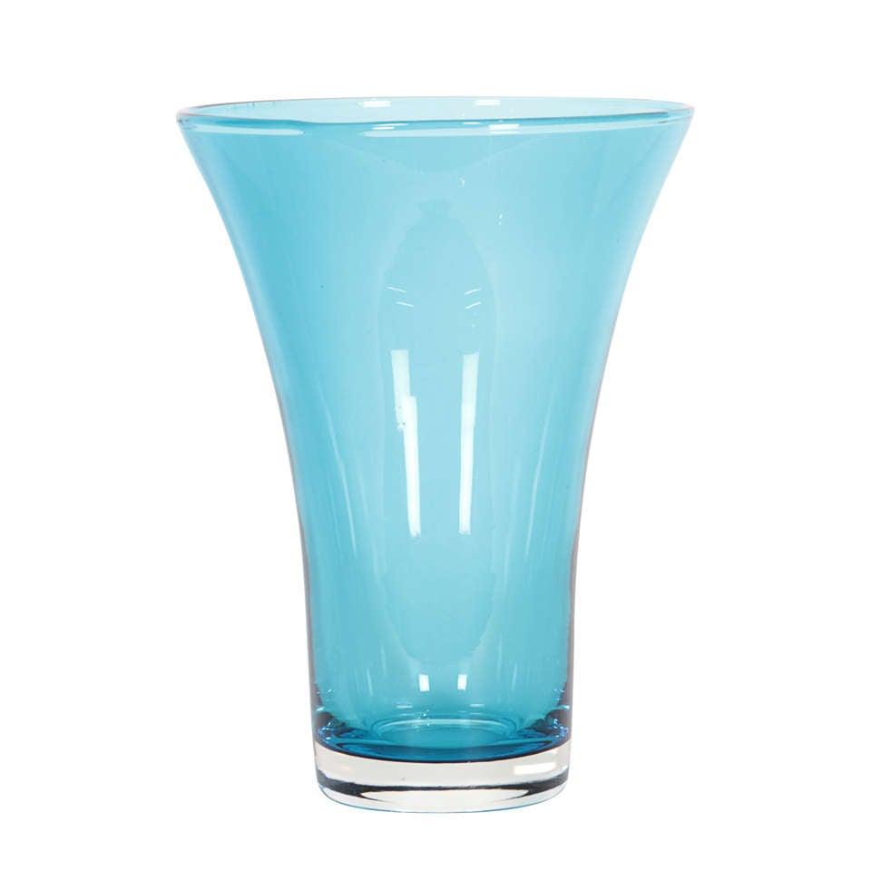Blue Scandinavian V Shaped Crystal Vase At 1stdibs