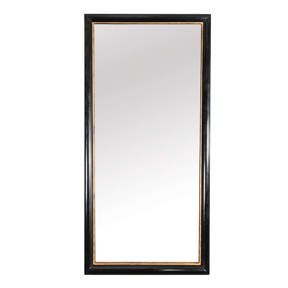 Unusual Mid Century Modern Ebonized Mirror With Gold Trim